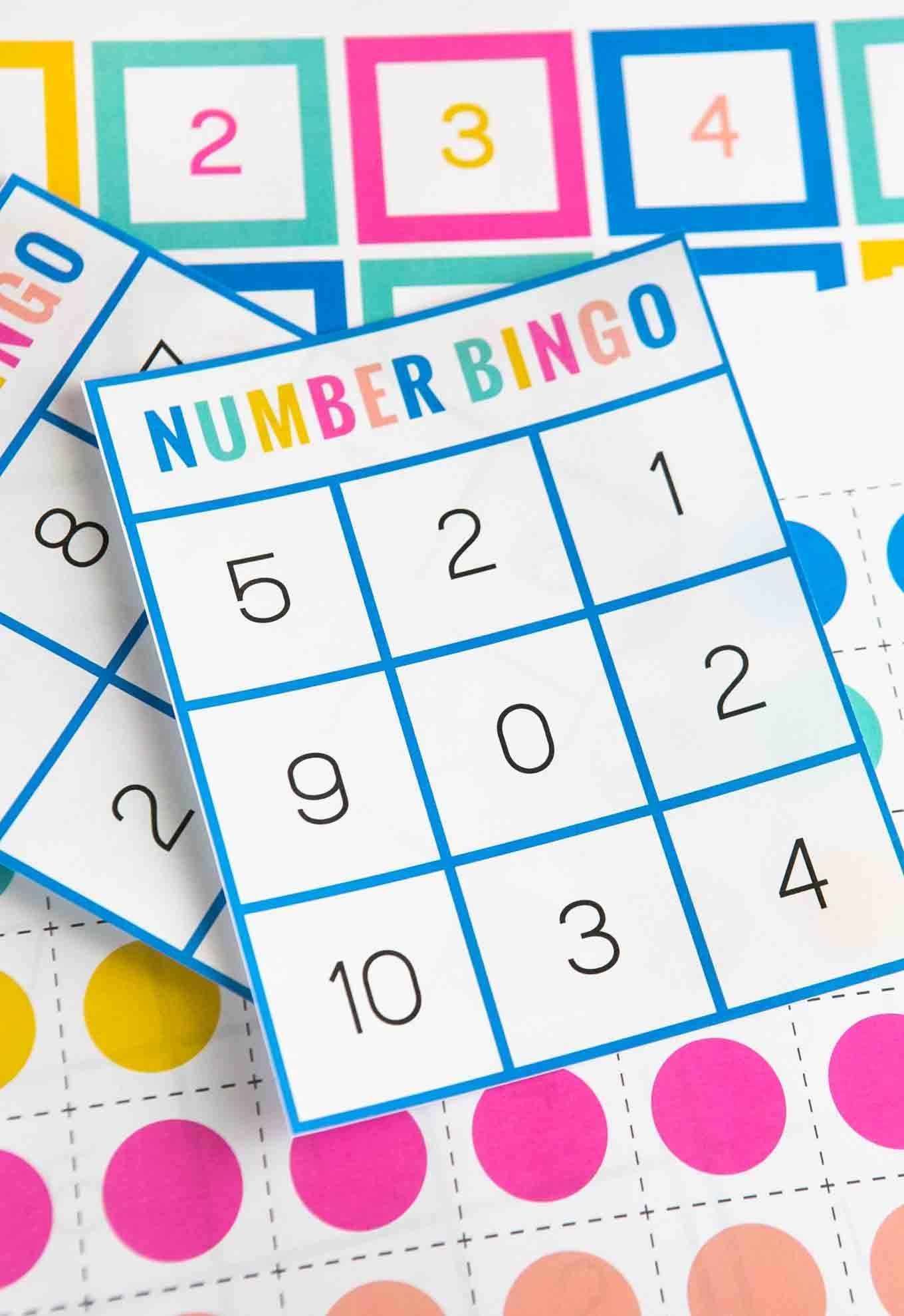 Colorful Number Bingo Card With Images