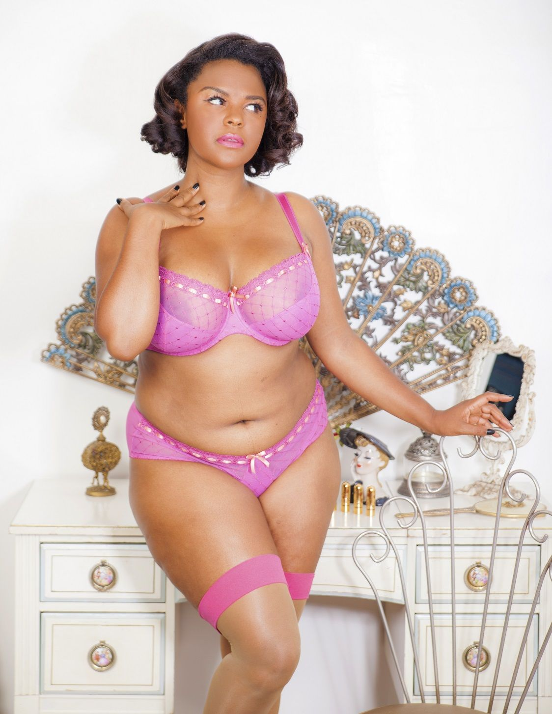 Lingerie set by Curvy Kate, stockings by Cervin Paris and ...