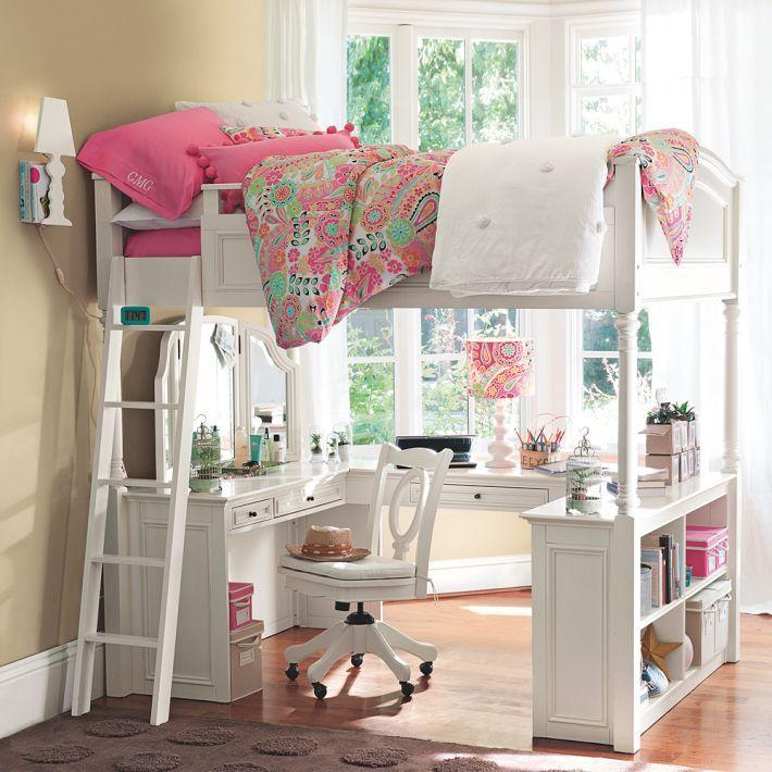 Dormitorio juvenil con cama y escritorio en el mismo - Dormitorios juveniles espacios pequenos ...