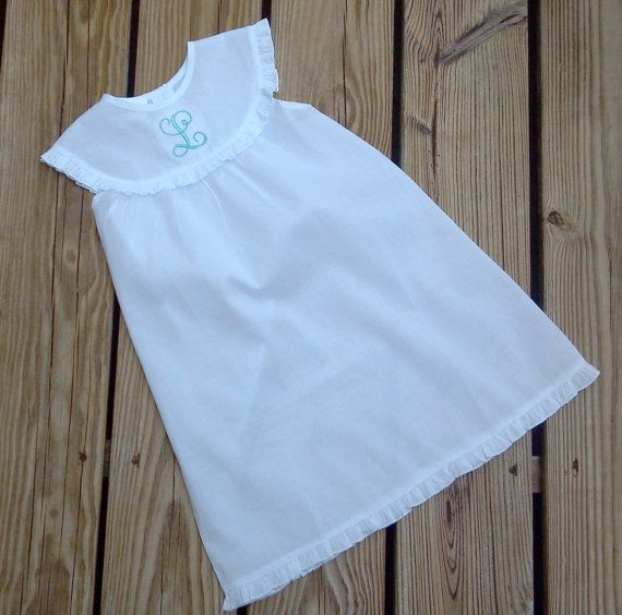 Custom Personalized Monogrammed White Ruffled Trim Nightgown...Also great for  Beach Portraits-  Free Shipping