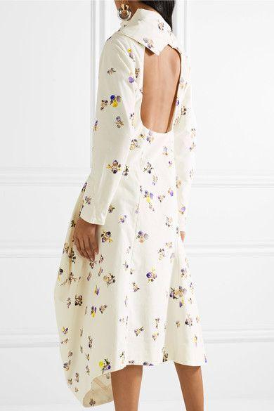 Dragica Asymmetric Floral-print Cotton-corduroy Midi Dress - Off-white Acne Studios RsMhy9