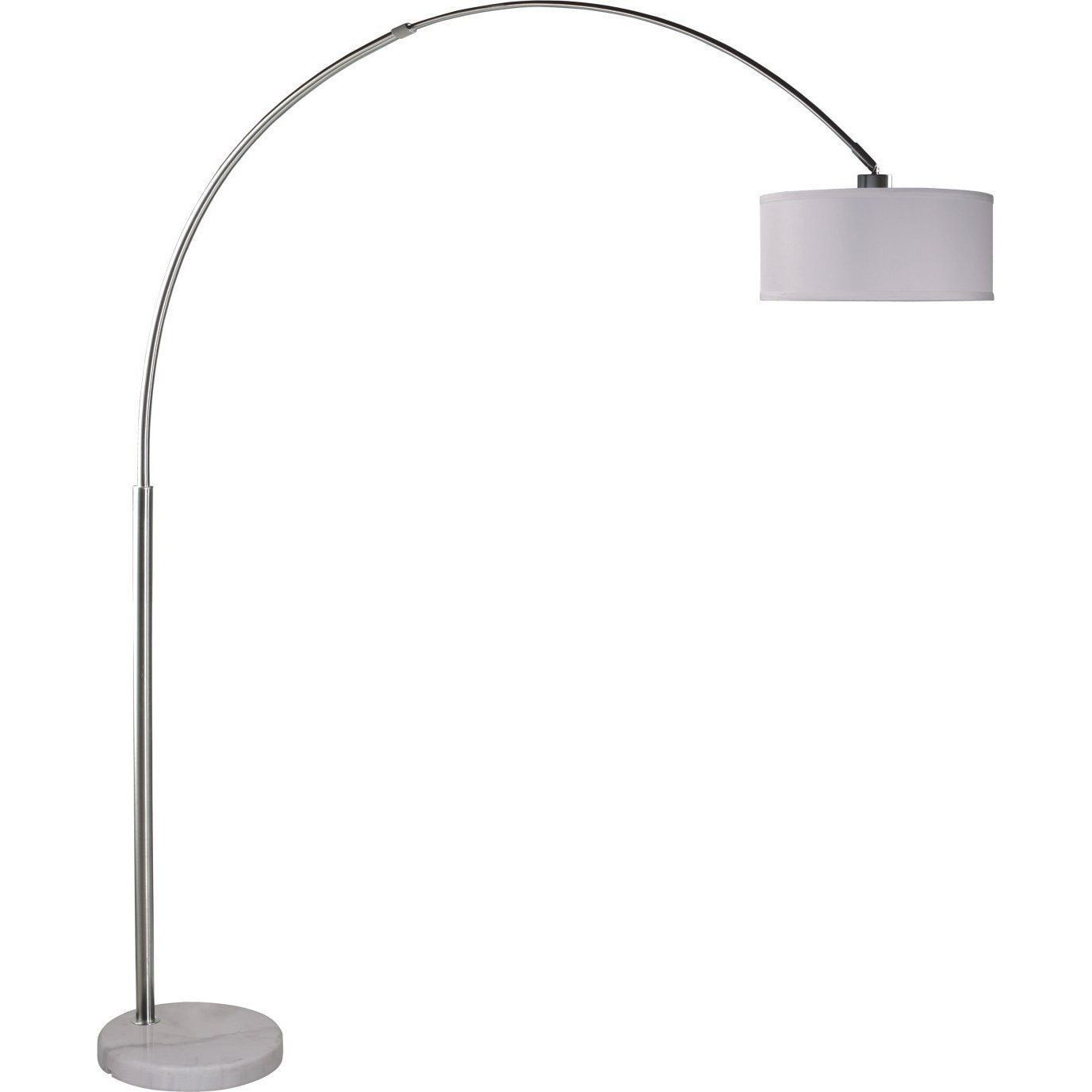 Q-Max Brushed Steel Adjustable Arching Floor Lamp with Shade and Marble Base