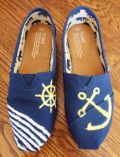 6545552fdd4 Hand Painted Custom TOMS with nautical symbols on Wanelo