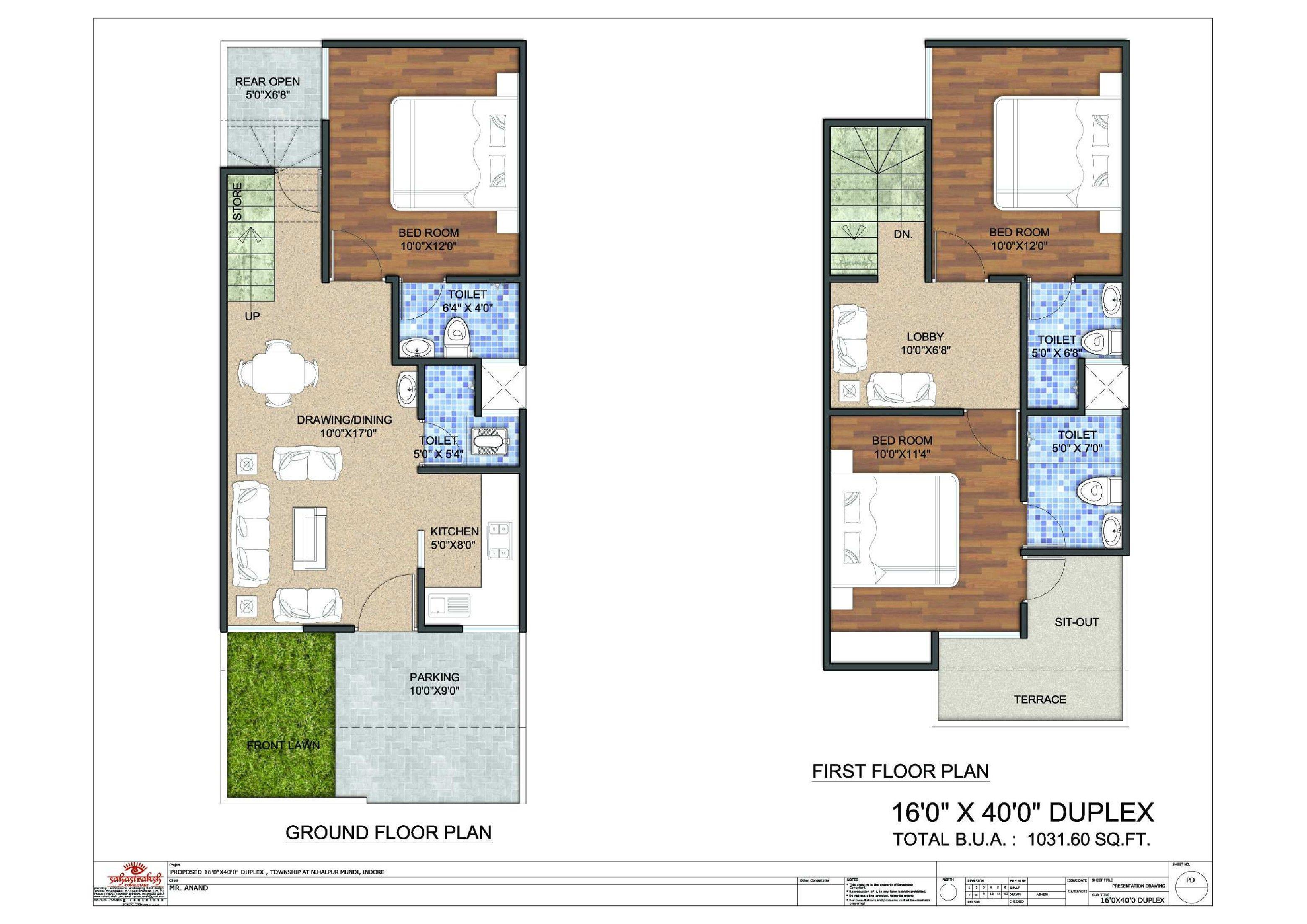 16x40 Duplex Floor Plan Flat For