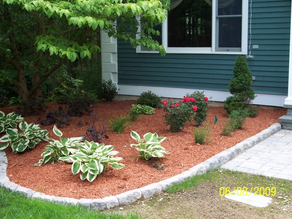 Front Yard Border Designs: Techo-Bloc Belgik Edge Installation, Shale Grey, MA