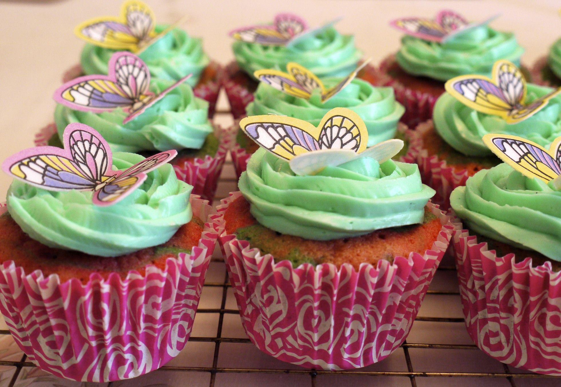 Zebra cupcakes, edible butterflies