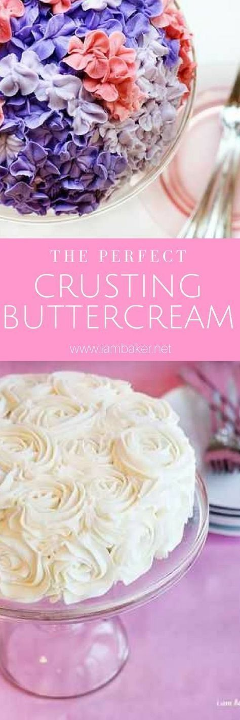 The Perfect Crusting Buttercream.I use this recipe when making my rose cake,my hydrangea cake,or any cake that I want the frosting to be able to hold its shape!This makes quite a bit, but can be refrigerated quite easily.More drool-worthy and creative bak #crustingbuttercream The Perfect Crusting Buttercream.I use this recipe when making my rose cake,my hydrangea cake,or any cake that I want the frosting to be able to hold its shape!This makes quite a bit, but can be refrigerated quite easily.Mo #crustingbuttercream