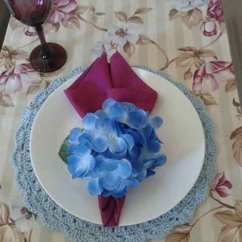Sousplat de crochê / trilho de mesa / guardanapos e porta guardanapos