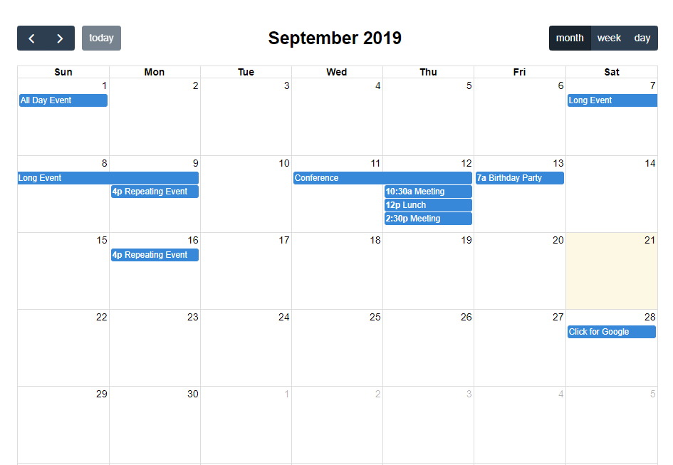 Laravel Full Calendar Using Ajax Example Ajax Calendar Examples Event Calendar