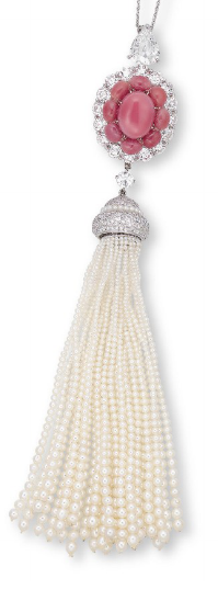 [DETAIL} A CONCH PEARL, SEED PEARL, PEARL AND DIAMOND PENDENT NECKLACE