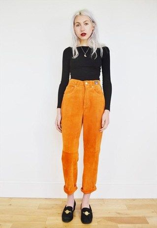 8b11ae7f69d3 VINTAGE VERSACE ORANGE HIGH WAISTED SUEDE MOM JEANS TROUSERS ...
