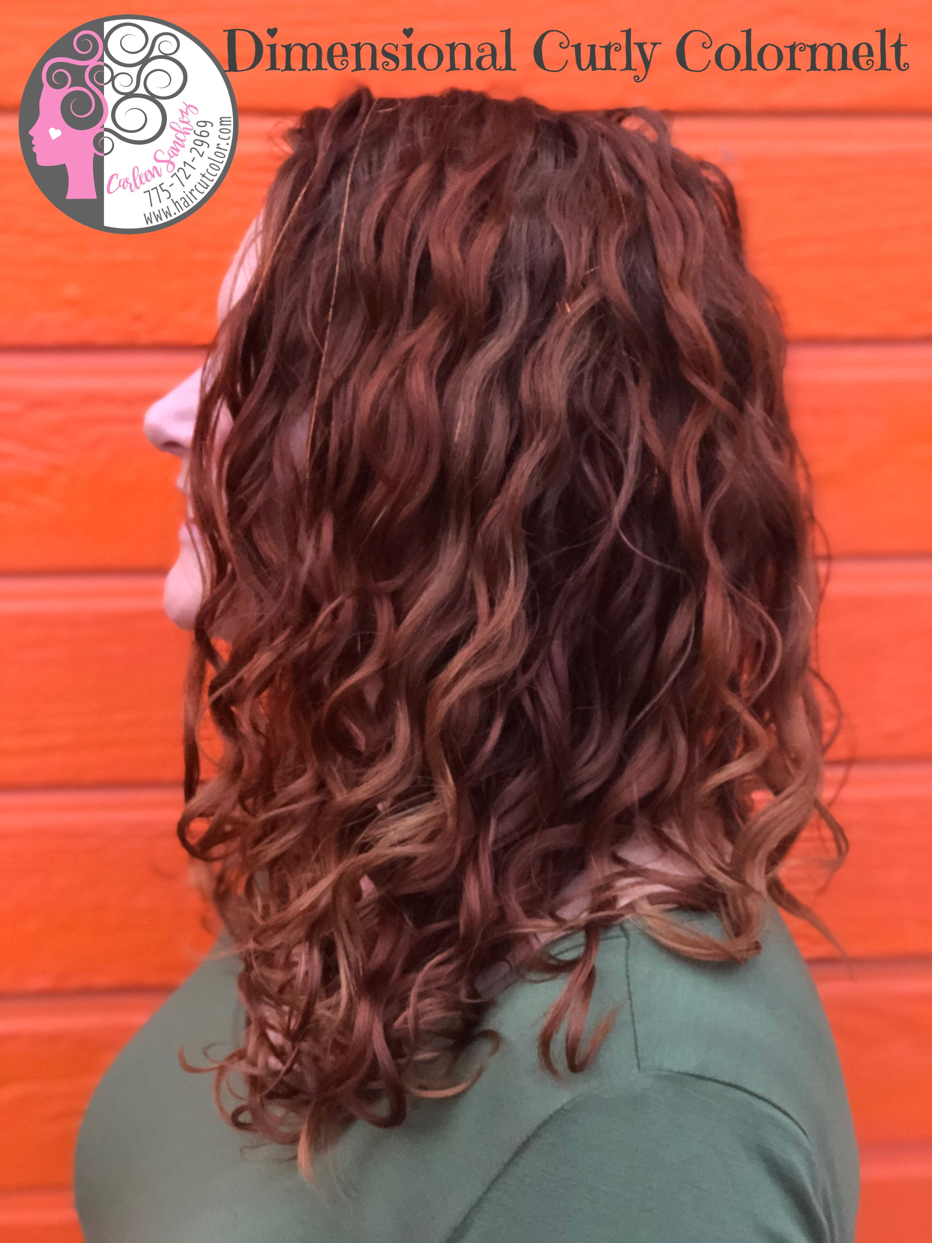 Naturally Curly Beach Waves red hair colormelt by Carleen Sanchez