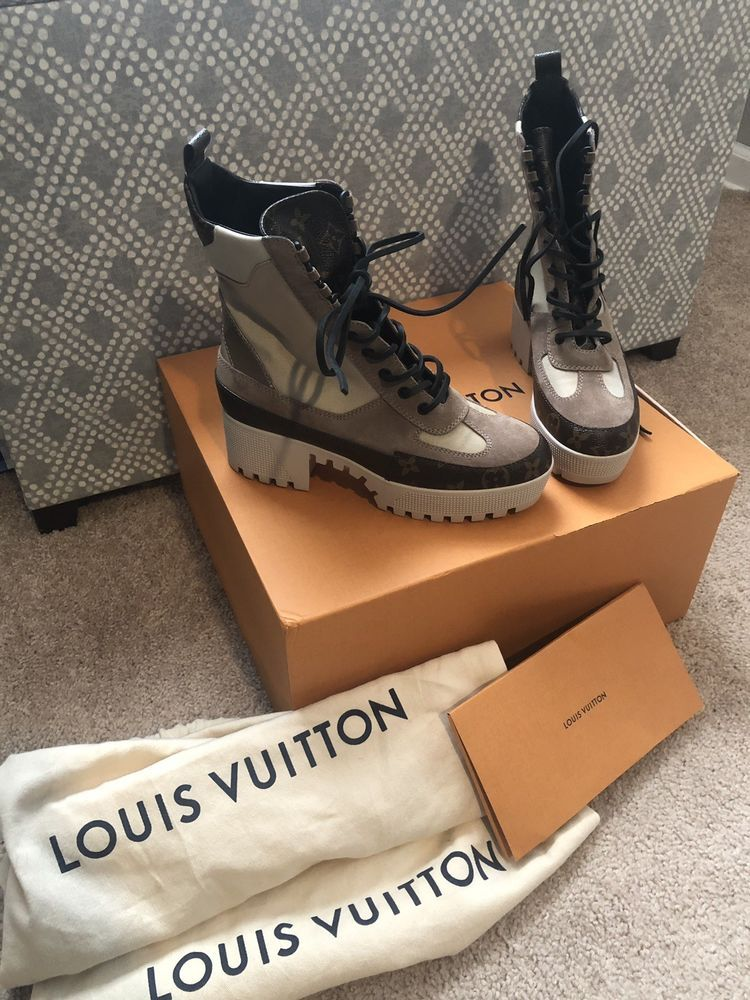 62dc30e4fef4 Louis Vuitton Laureate Platform Desert Boot Tan Size 38 1 2  fashion   clothing