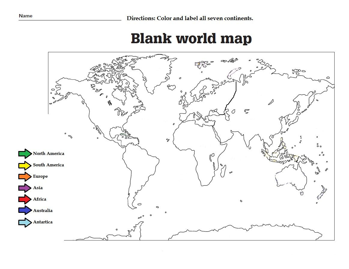 Label The The Continents And Color Them Great Worksheet For Kids