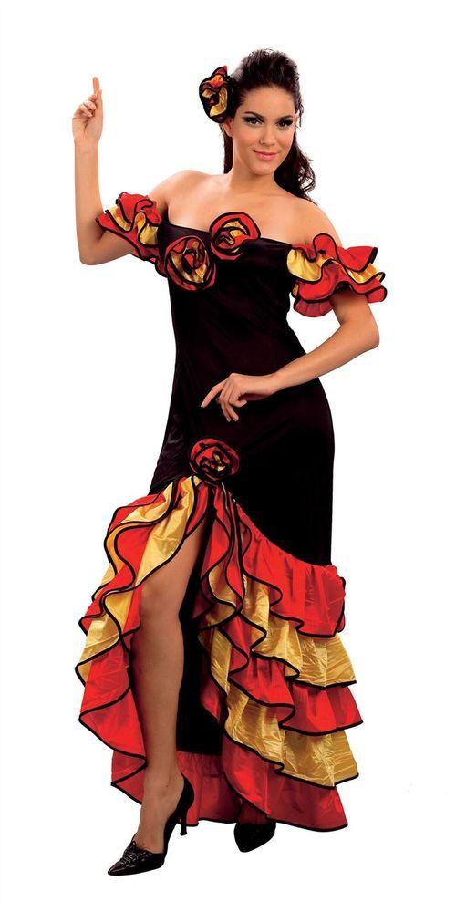 595c8a6a730ef Rumba Lady Woman Spanish Salsa Flamenco Mexican Dancer Fancy Dress ...
