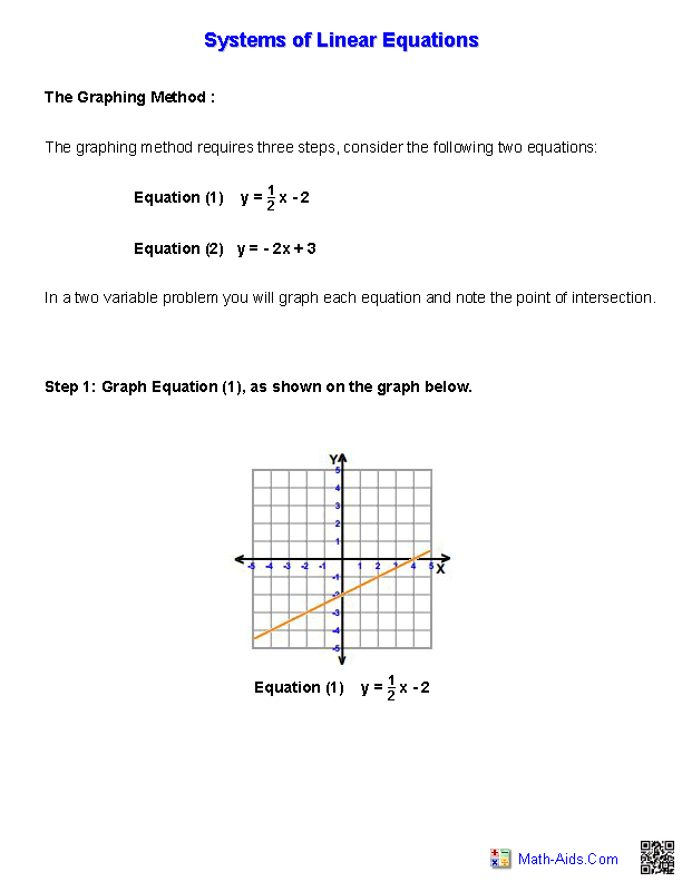 Handout for Systems of Equations and Inequalities Worksheets ...