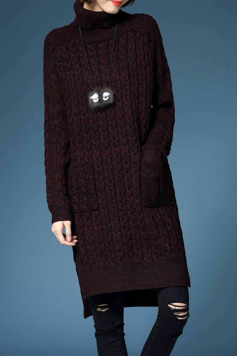 Lushijiao Dark Red Turtleneck Sweater Dress | Sweater Dresses at ...