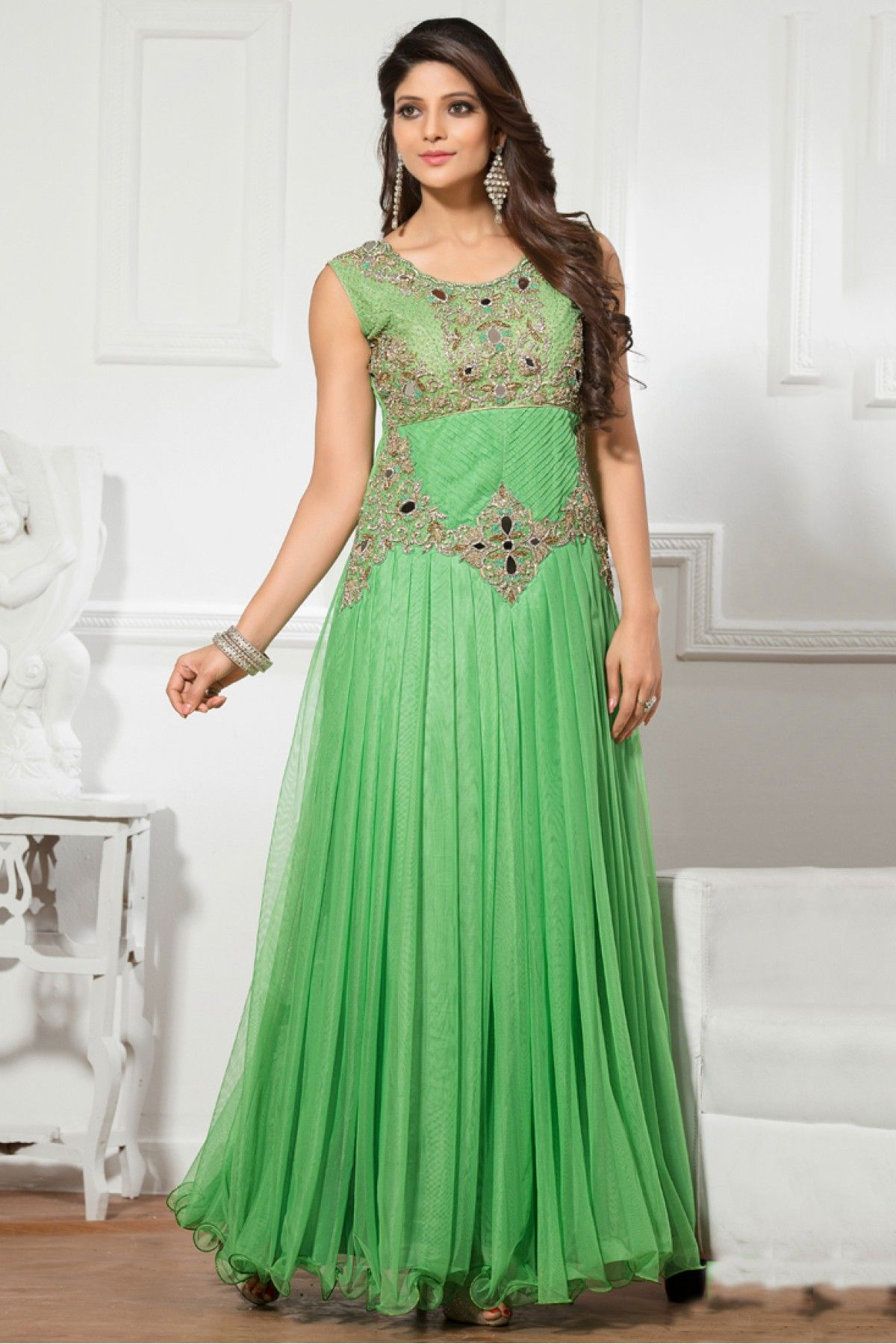 6ba5c55c9 Light Green Colour Net Fabric Designer Semi Stitched Gown Comes With  Matching Dupatta. This Gown Is Crafted With Resham Work,Embroidery,Cut  Dana,Diamond ...