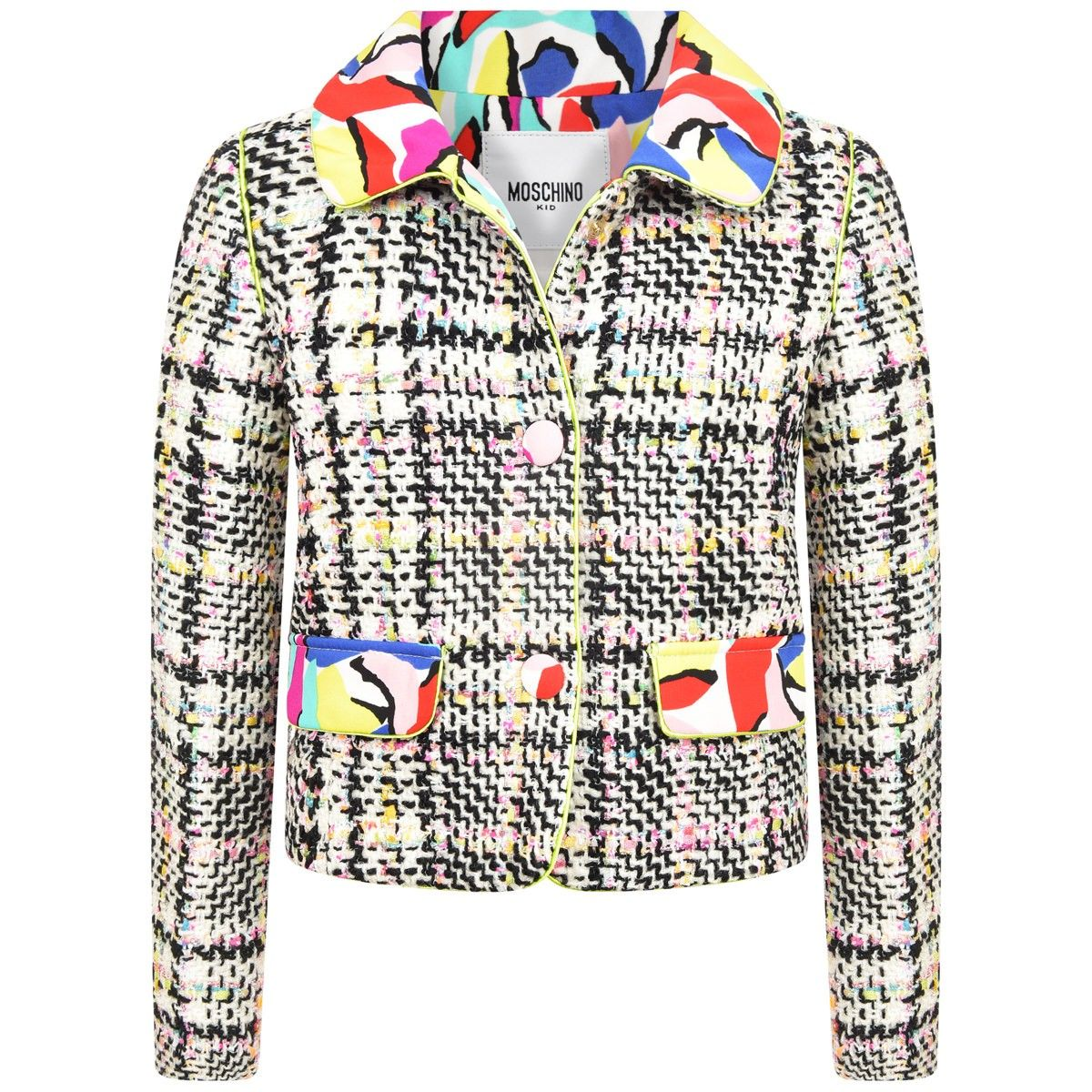 Moschino Girls Boucle Jacket With Patterned Collar Boucle Jacket Boucle Moschino