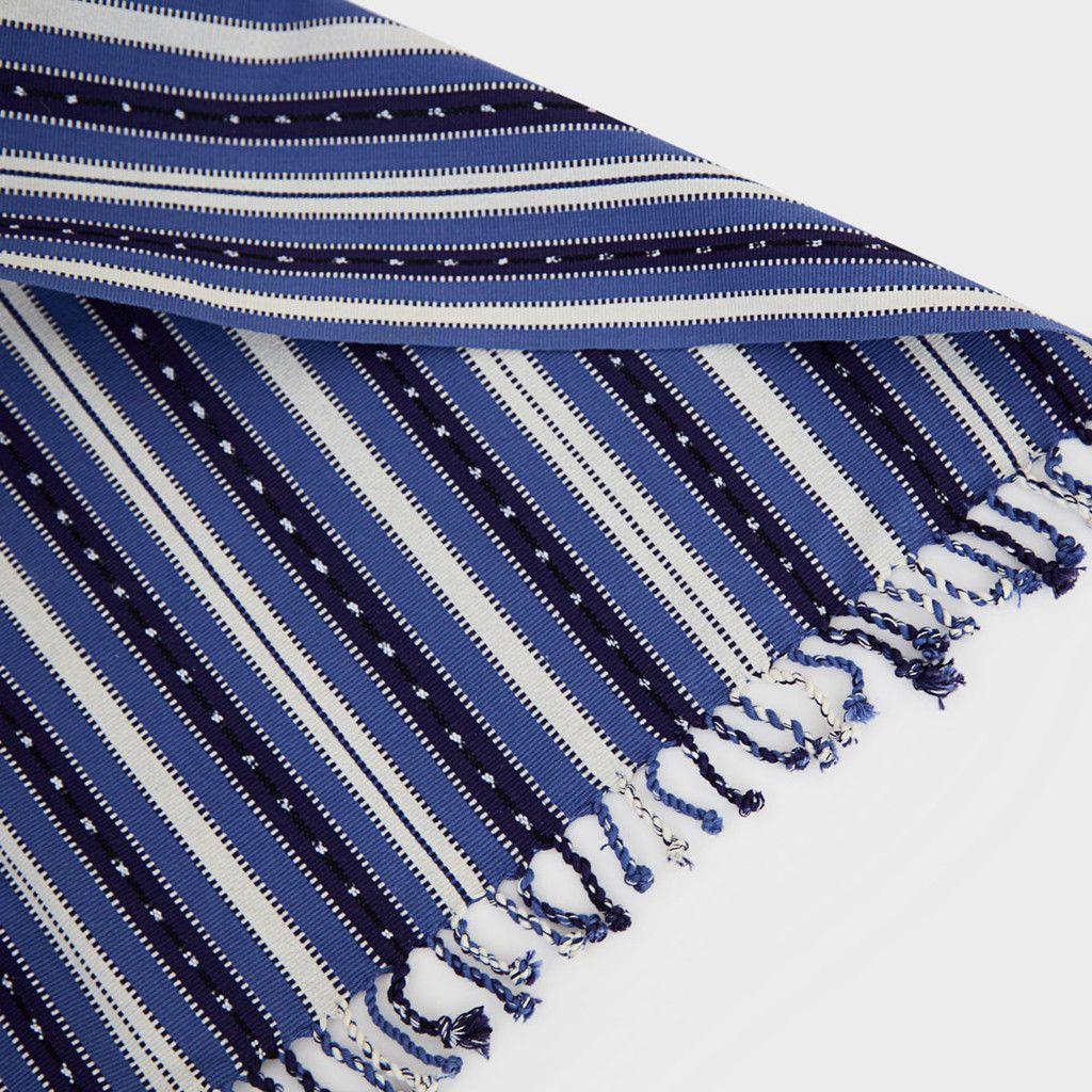 Guatemalan Blue Striped Tablecloth