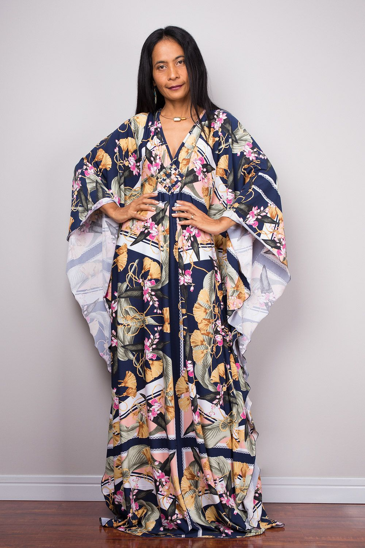 91824889d2c4a Floral Boho Dress, Maxi Dress, Summer Kaftan Dress, Loose fit dress ...
