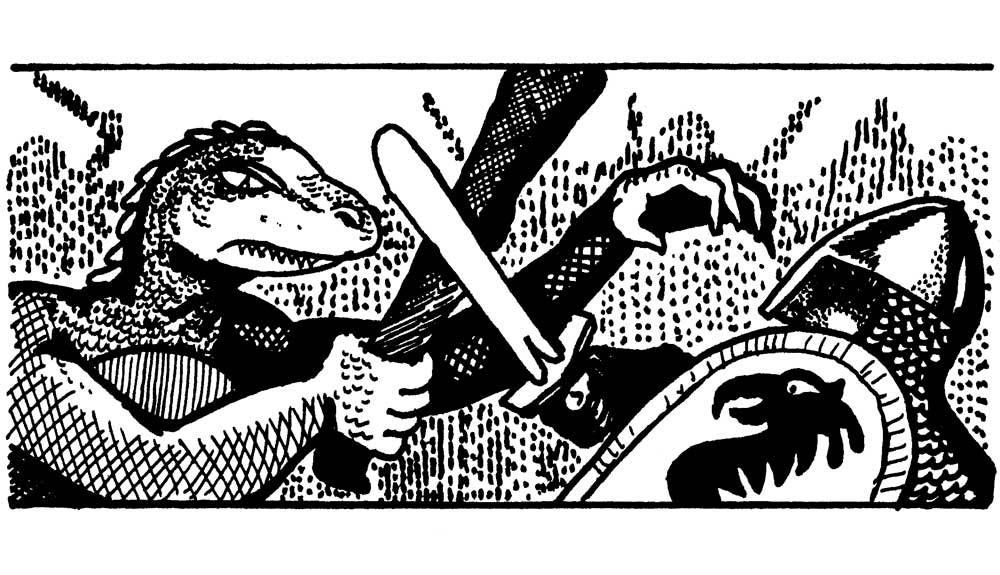 A lizardman engaged in combat with a human warrior. David Sutherland (1977).