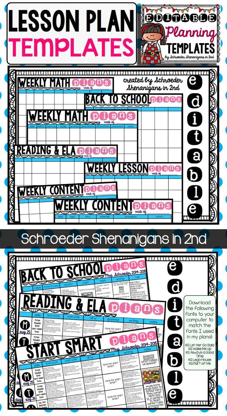 Editable Planning Template  Back To School Shenanigans