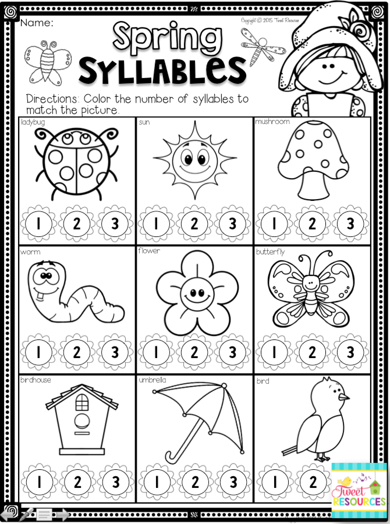 Worksheets Syllable Worksheets kindergarten math and literacy printables for spring no prep worksheets