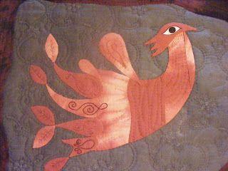 Pájaro floreciendo - Art Quilt