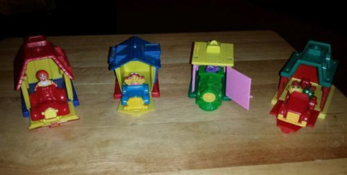 1993 MCDONALD'S HAPPY MEAL TOYS VILLAGE HOUSES WITH VEHICLE 4 TOYS