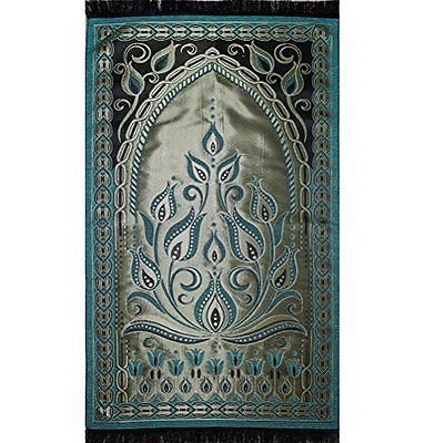 Turkish Islamic Janamaz Sajada Taffeta Tulip Prayer Mat Green 13 48