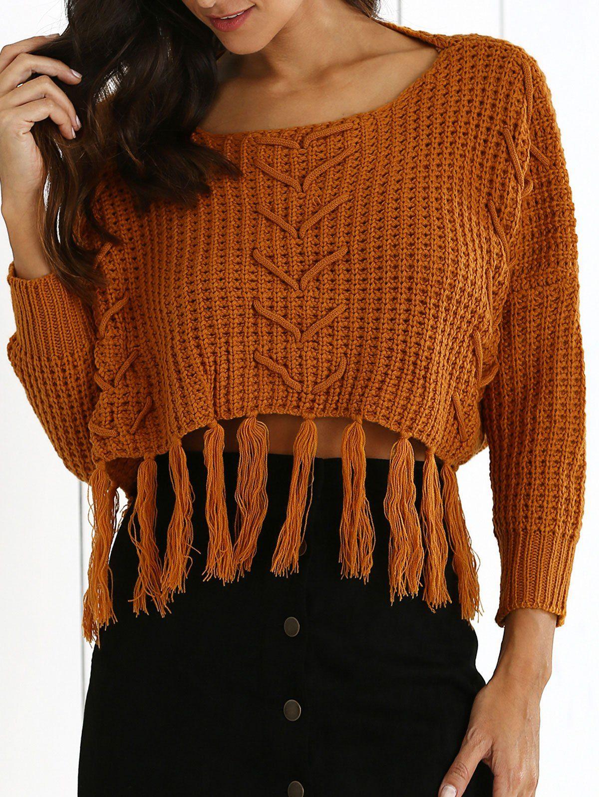 Sweaters & Cardigans | Earthy Scoop Neck Tassels High Low Hem ...