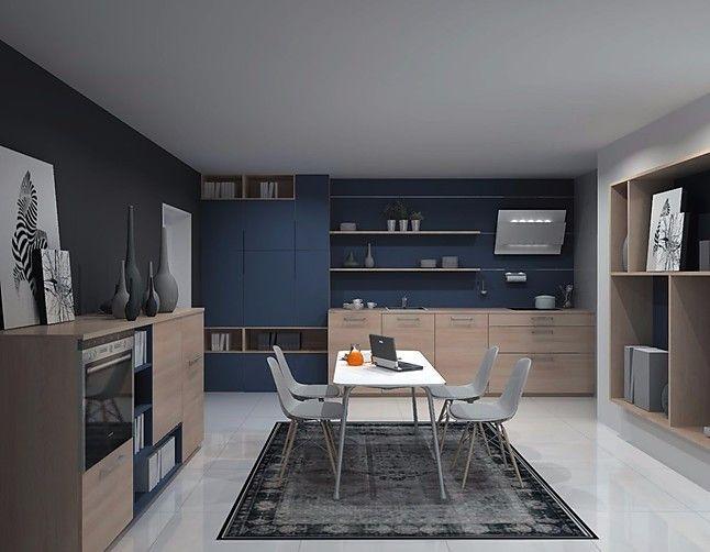 Nolte-Musterküche U Form Küche Asteiche Natur Lack Ozeanblau matt - küche in u form