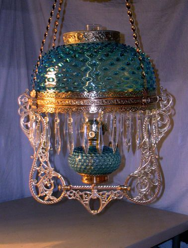 Antique B Amp H Jeweled Hanging Oil Lamp Blue Glass Font Amp Blue Bristol Shade Oil Lamps