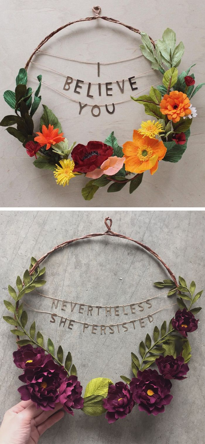 Paper Flower Wreaths Pair Beauty with Powerful Phrases to Empower ...