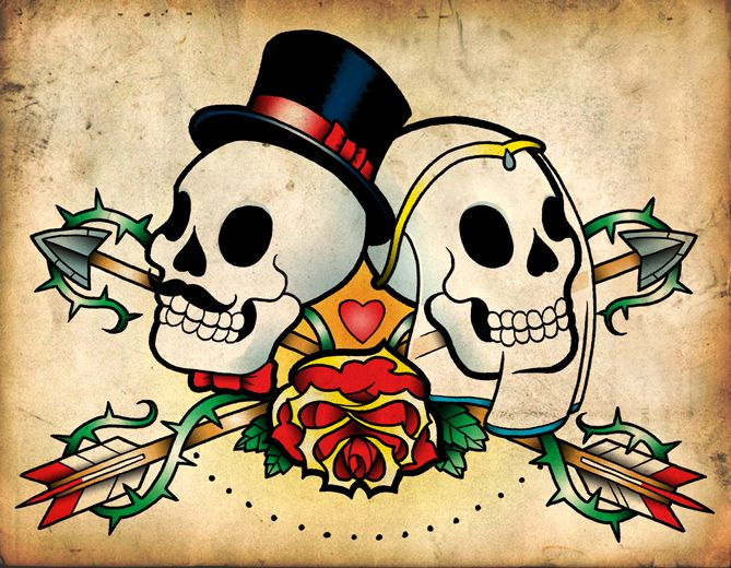 Dia De Los Muertos Day Of The Dead Wedding Bride And Groom Tattoo Flash Art Idea Design By Sbugg On Deviantart