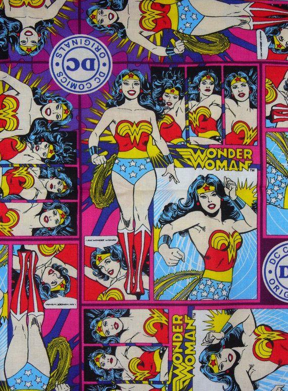 Wonder Woman Fabric /  DC Comics  //  Girl Power Superhero Fabric