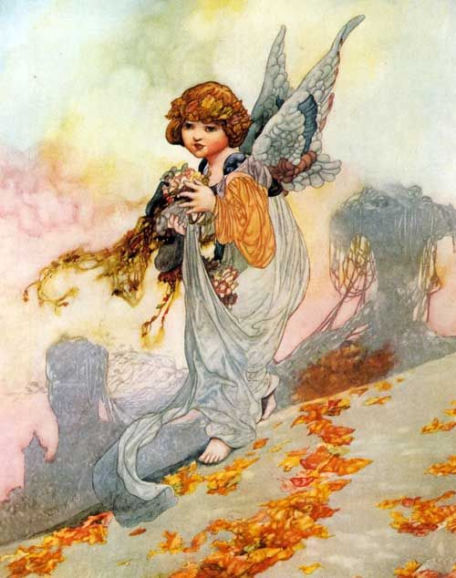 Autumn angel, by English illustrator Charles Robinson
