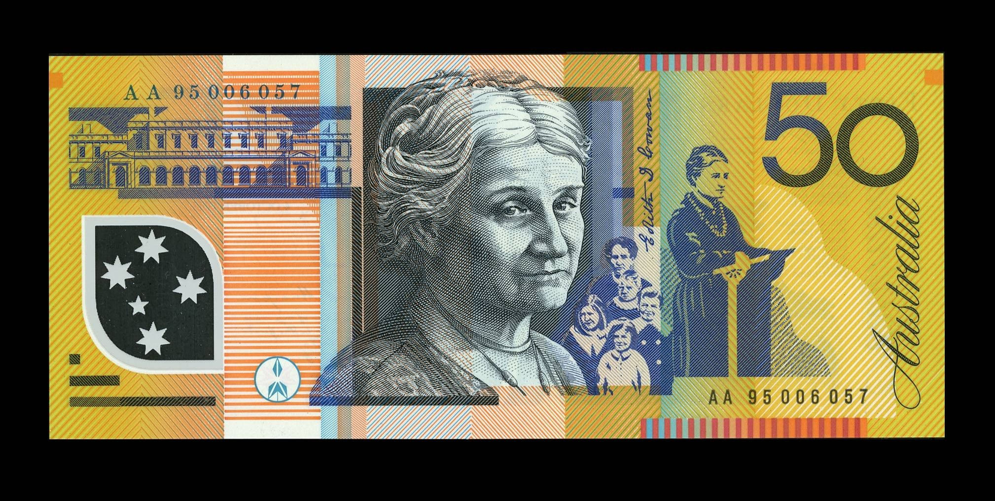 Australian 50 Note Love The Vertical Banding Of Colors And Hatching Bank Notes Dollar Banknote Australia
