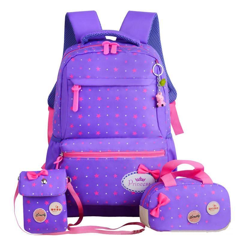 3 pcs Women Backpack Travel Handbag Rucksack Shoulder School Bag Waterproof