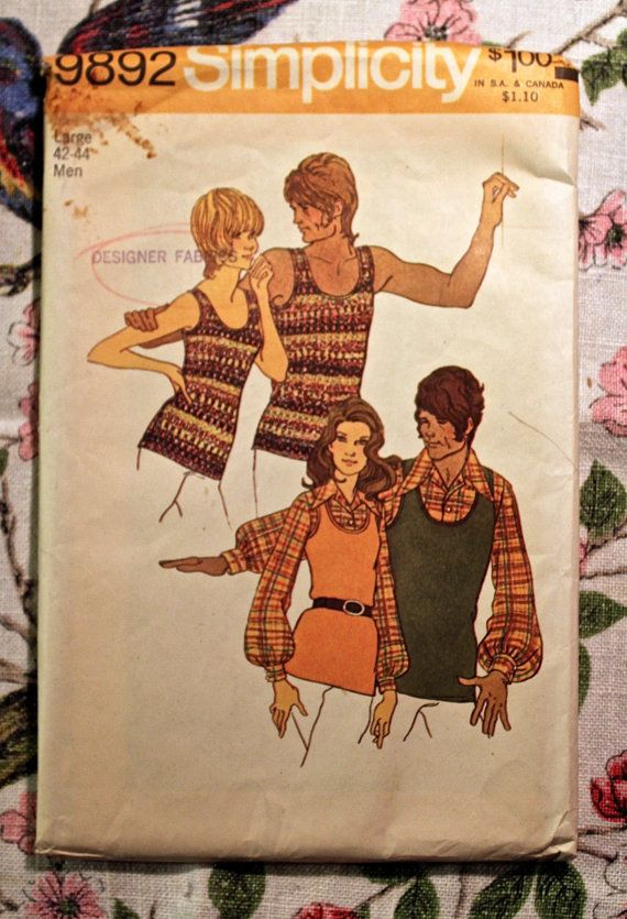 Simplicity Sewing Pattern 9892 Vintage 1972 Shirt and pullover Top, Mens and Misses