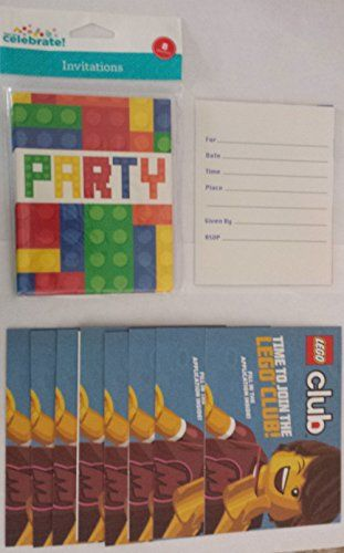 Bricks Blocks Birthday Party invitations 40 40 Envelopes with 40 ...