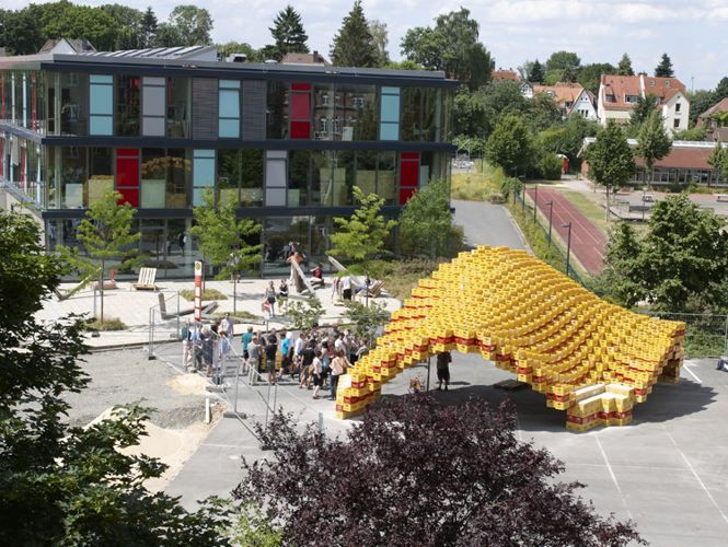 Brilliant Boxel Pavilion Is Built From 2,000 Beer Boxes