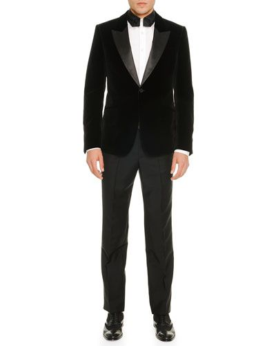 320d5cb56c08 -5BJL Alexander McQueen Velvet Evening Jacket, Long-Sleeve Poplin Shirt  with Necktie-Collar & Side-Stripe Tuxedo Pants