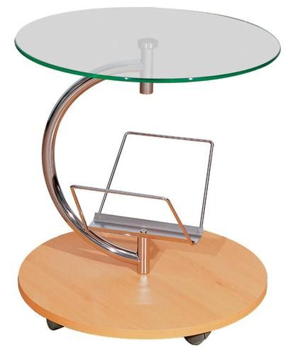 a9500855f4 Tempered Glass Top Side Table With Magazine Rack Beech Base Curve Chrome  Frame | eBay