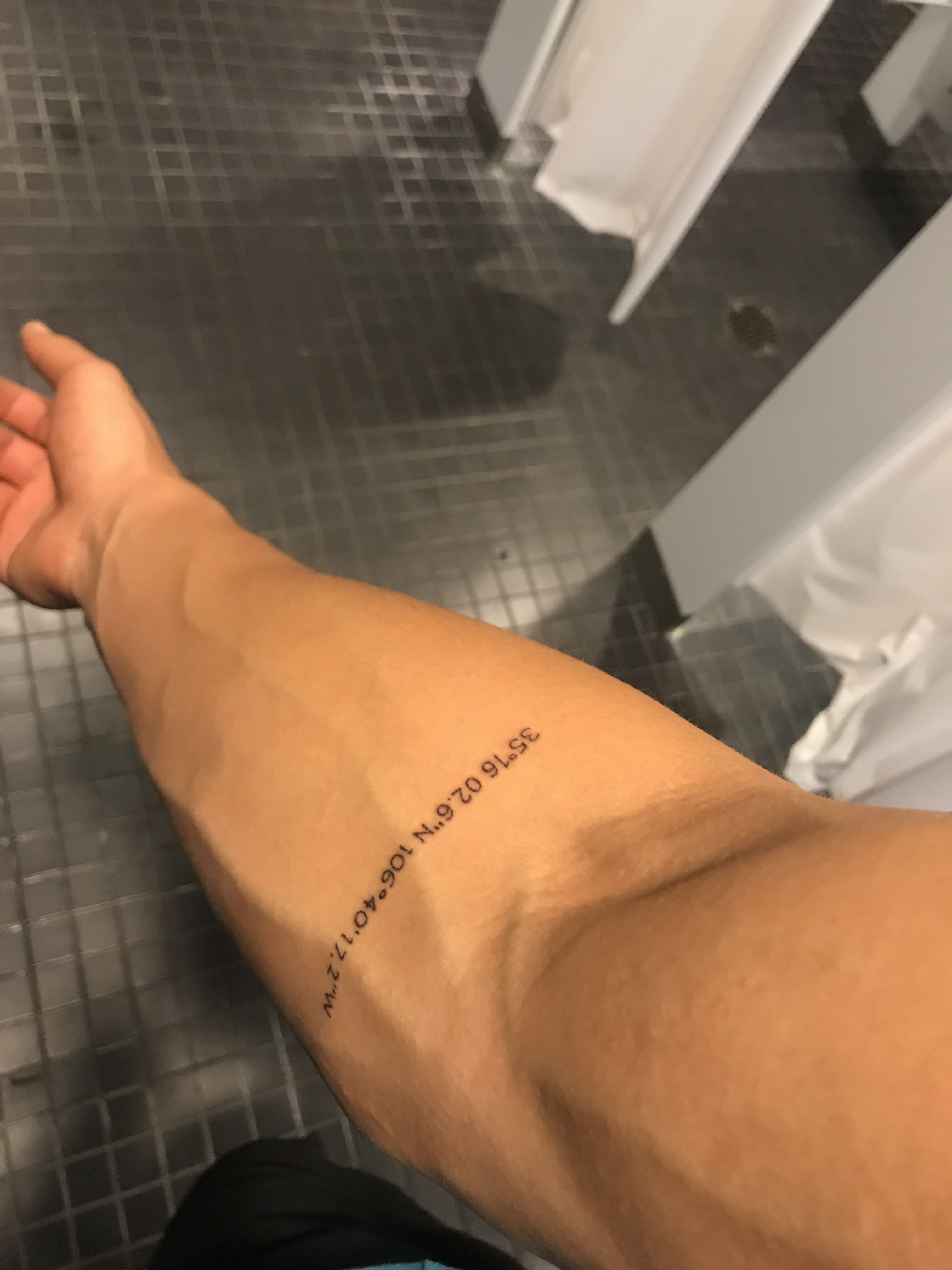 Small forearm tattoo. Coordinates Small tattoos for guys