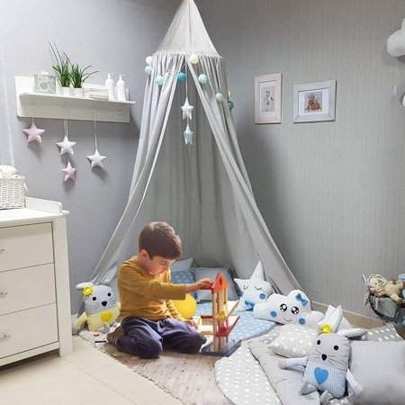 Generic Baby Bedding Round Dome Bed Canopy Kids Play Tent Hanging Mosquito Net Curtain For Baby Kids Reading Playing Sleeping Room Decoration images