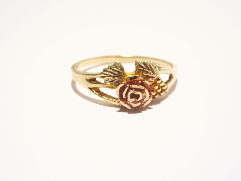 Vintage 10k Black Hills Gold Ring 12k Rose Flower Signed Rgc Size 8 By Darsjewelrybox On Etsy Black Hills Gold Jewelry Black Hills Gold Rings Black Hills Gold