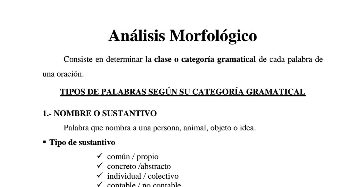 Analisis Morfologico Resumen Pdf Analisis Morfologico De Oraciones Nombre O Sustantivo Palabras