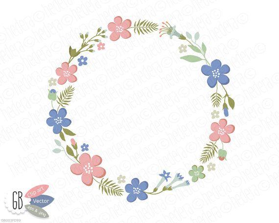 Folk flower wreaths, laurels, borders, clip art, heart shaped ...